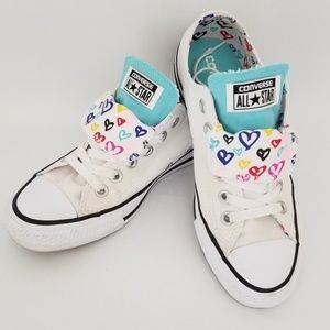 Converse white double tongued